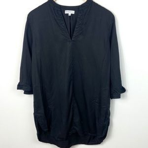 Aritzia Split Neck Black Tunic Dress Lyocell Small